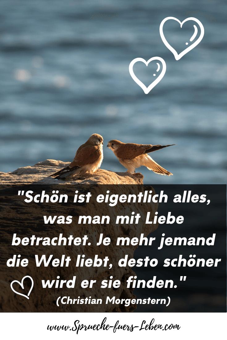 """""""Schön ist eigentlich alles, was man mit Liebe betrachtet. Je mehr jemand die Welt liebt, desto schöner wird er sie finden."""" (Christian Morgenstern)"""