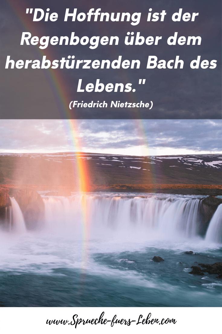 """""""Die Hoffnung ist der Regenbogen über dem herabstürzenden Bach des Lebens."""" (Friedrich Nietzsche)"""