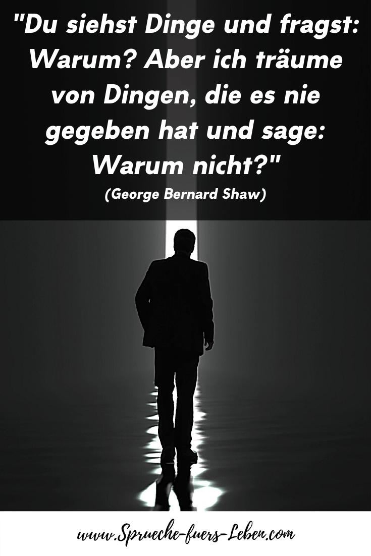 """""""Du siehst Dinge und fragst: Warum? Aber ich träume von Dingen, die es nie gegeben hat und sage: Warum nicht?"""" (George Bernard Shaw)"""