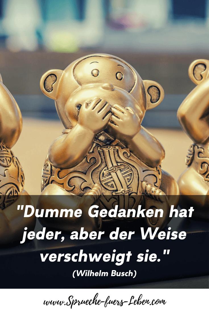"""""""Dumme Gedanken hat jeder, aber der Weise verschweigt sie."""" (Wilhelm Busch)"""