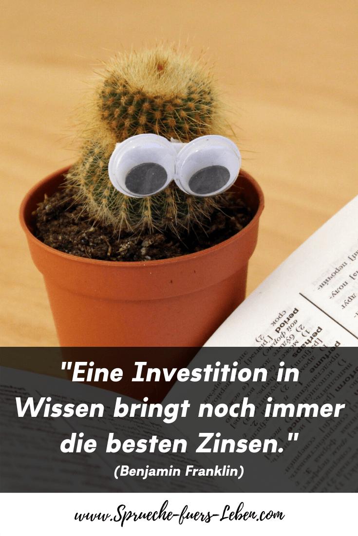 """""""Eine Investition in Wissen bringt noch immer die besten Zinsen."""" (Benjamin Franklin)"""