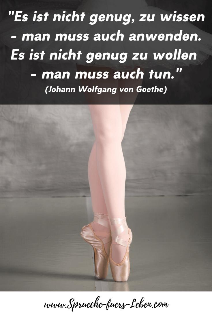 """""""Es ist nicht genug, zu wissen - man muss auch anwenden. Es ist nicht genug zu wollen - man muss auch tun."""" (Johann Wolfgang von Goethe)"""