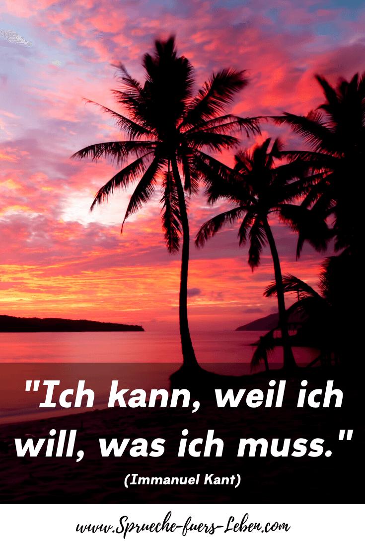 """""""Ich kann, weil ich will, was ich muss."""" (Immanuel Kant)"""