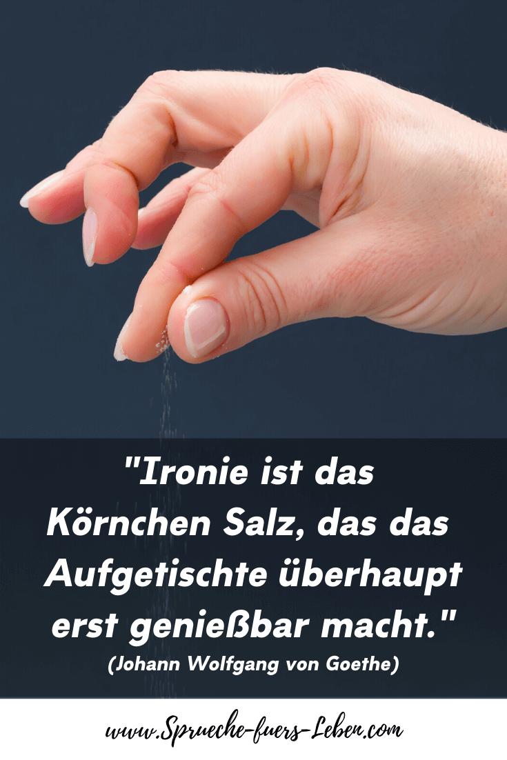 """""""Ironie ist das Körnchen Salz, das das Aufgetischte überhaupt erst genießbar macht."""" (Johann Wolfgang von Goethe)"""