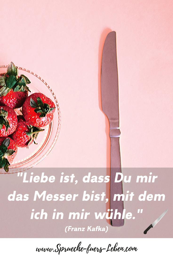 """""""Liebe ist, dass Du mir das Messer bist, mit dem ich in mir wühle."""" (Franz Kafka)"""