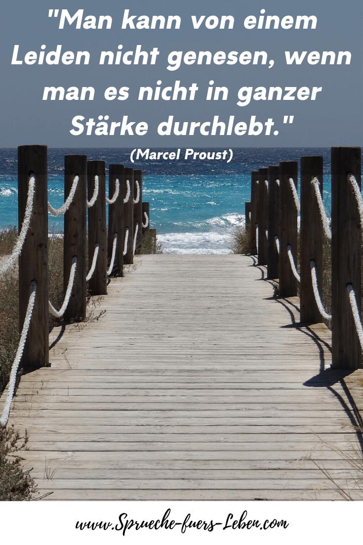 """""""Man kann von einem Leiden nicht genesen, wenn man es nicht in ganzer Stärke durchlebt."""" (Marcel Proust)"""