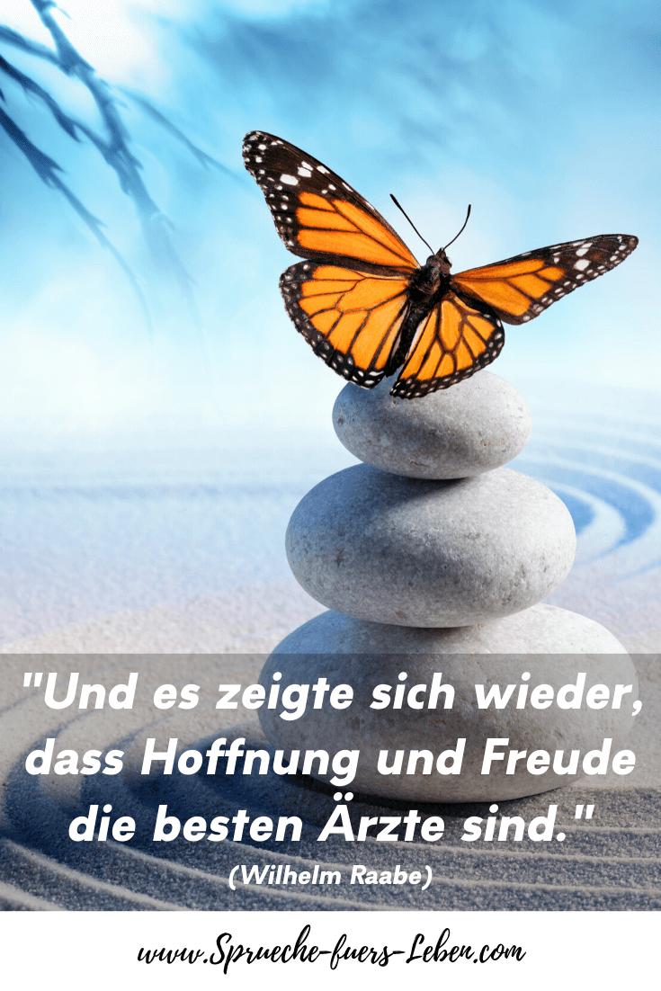 """""""Und es zeigte sich wieder, dass Hoffnung und Freude die besten Ärzte sind."""" (Wilhelm Raabe)"""