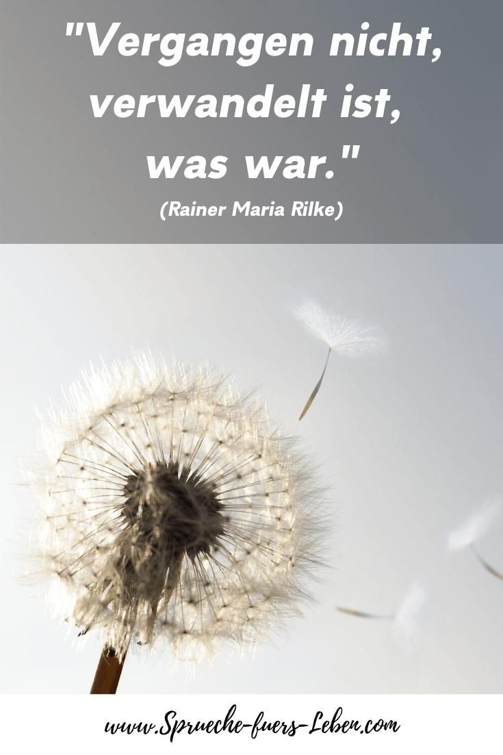 """""""Vergangen nicht, verwandelt ist, was war."""" (Rainer Maria Rilke)"""