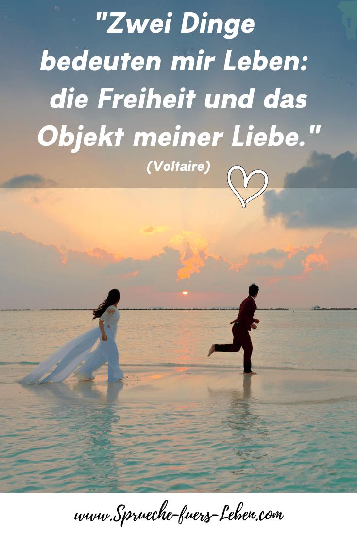 """""""Zwei Dinge bedeuten mir Leben: die Freiheit und das Objekt meiner Liebe."""" (Voltaire)"""